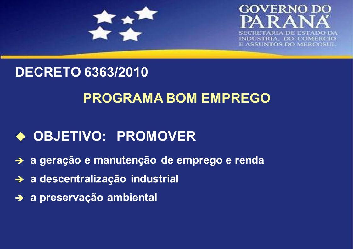 DECRETO 6363/2010 PROGRAMA BOM EMPREGO OBJETIVO: PROMOVER a geração e manutenção de emprego e renda a descentralização industrial a preservação ambien