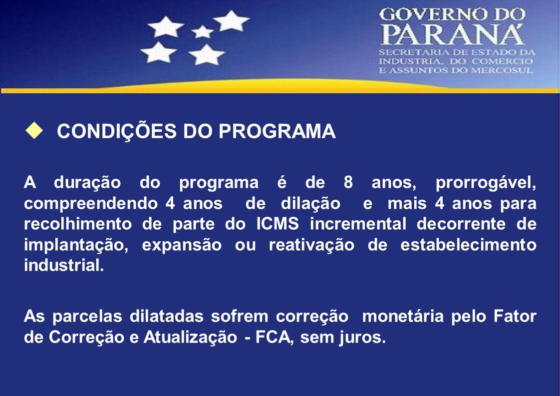 CONDIÇÕES DO PROGRAMA A duração do programa é de 8 anos, prorrogável, compreendendo 4 anos de dilação e mais 4 anos para recolhimento de parte do ICMS