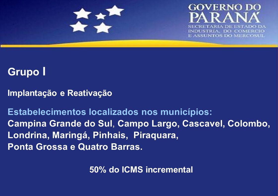 Grupo I Implantação e Reativação Estabelecimentos localizados nos municípios: Campina Grande do Sul, Campo Largo, Cascavel, Colombo, Londrina, Maringá