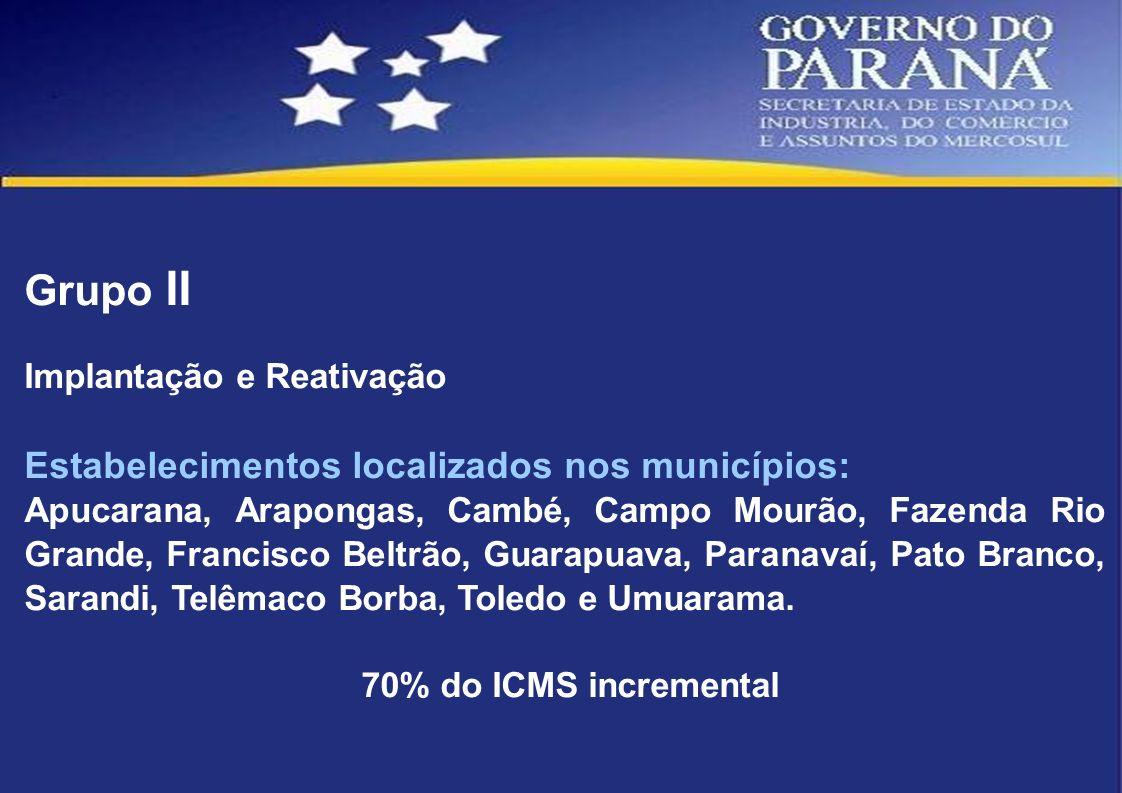 Grupo II Implantação e Reativação Estabelecimentos localizados nos municípios: Apucarana, Arapongas, Cambé, Campo Mourão, Fazenda Rio Grande, Francisc