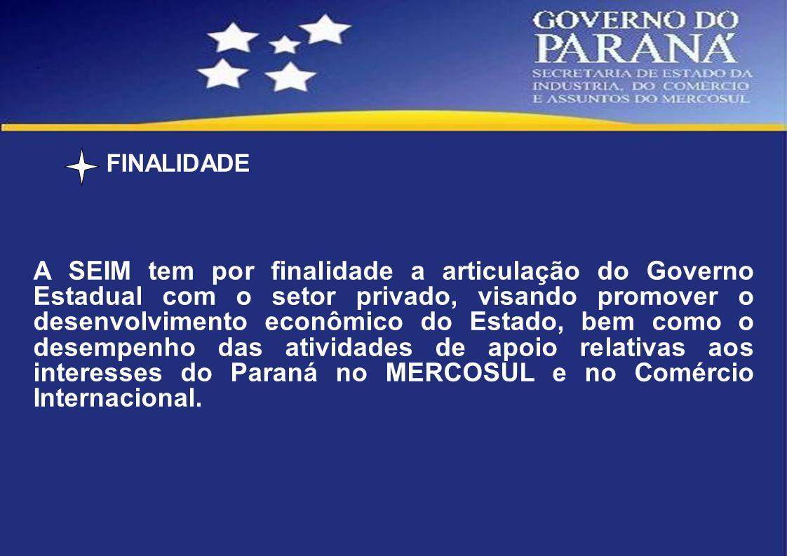 FINALIDADE A SEIM tem por finalidade a articulação do Governo Estadual com o setor privado, visando promover o desenvolvimento econômico do Estado, be