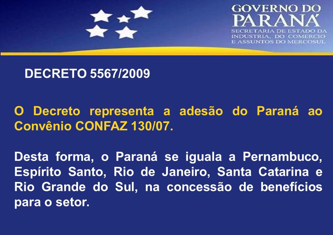 DECRETO 5567/2009 O Decreto representa a adesão do Paraná ao Convênio CONFAZ 130/07. Desta forma, o Paraná se iguala a Pernambuco, Espírito Santo, Rio