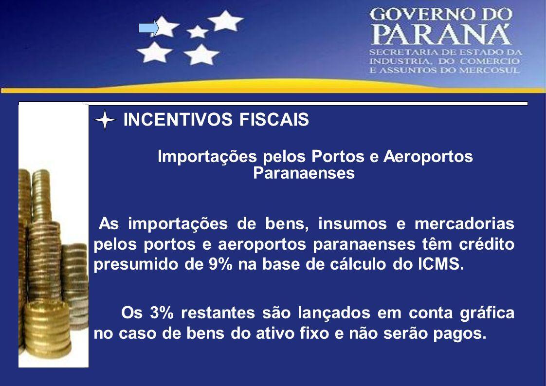 Importações pelos Portos e Aeroportos Paranaenses As importações de bens, insumos e mercadorias pelos portos e aeroportos paranaenses têm crédito pres