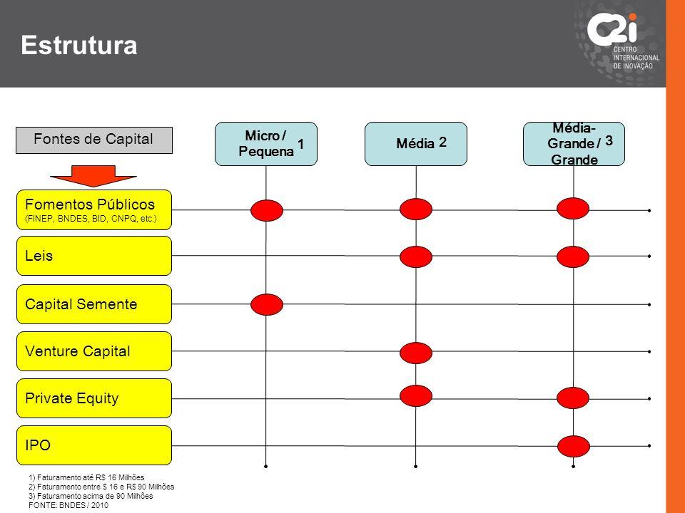 Micro / Pequena Média Média- Grande / Grande Fomentos Públicos (FINEP, BNDES, BID, CNPQ, etc.) Leis Capital Semente Venture Capital Private Equity IPO