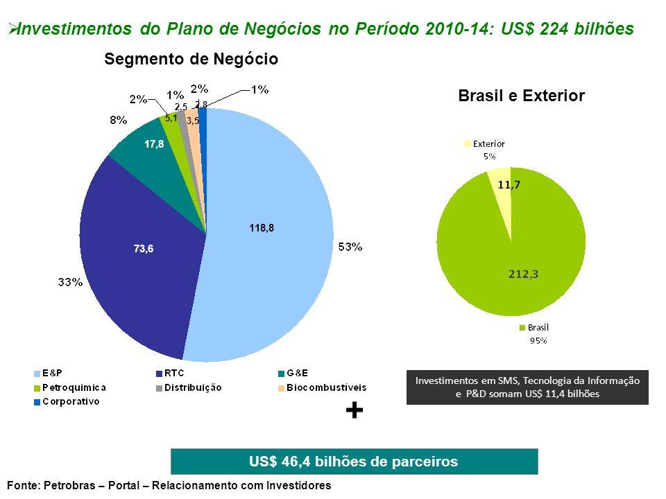 Investimentos do Plano de Negócios no Período 2010-14: US$ 224 bilhões Segmento de Negócio Brasil e Exterior 118,8 73,6 5,1 2,5 3,5 2,8 17,8 + US$ 46,