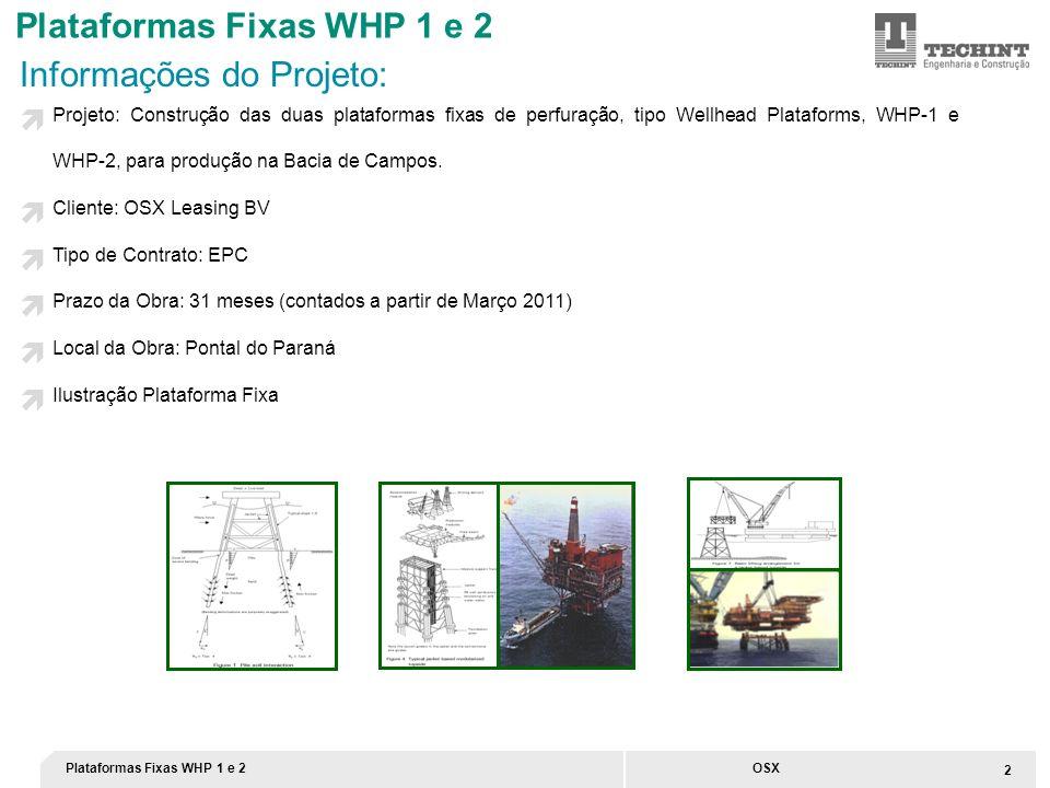 Plataformas Fixas WHP 1 e 2 2 OSX Informações do Projeto: Projeto: Construção das duas plataformas fixas de perfuração, tipo Wellhead Plataforms, WHP-