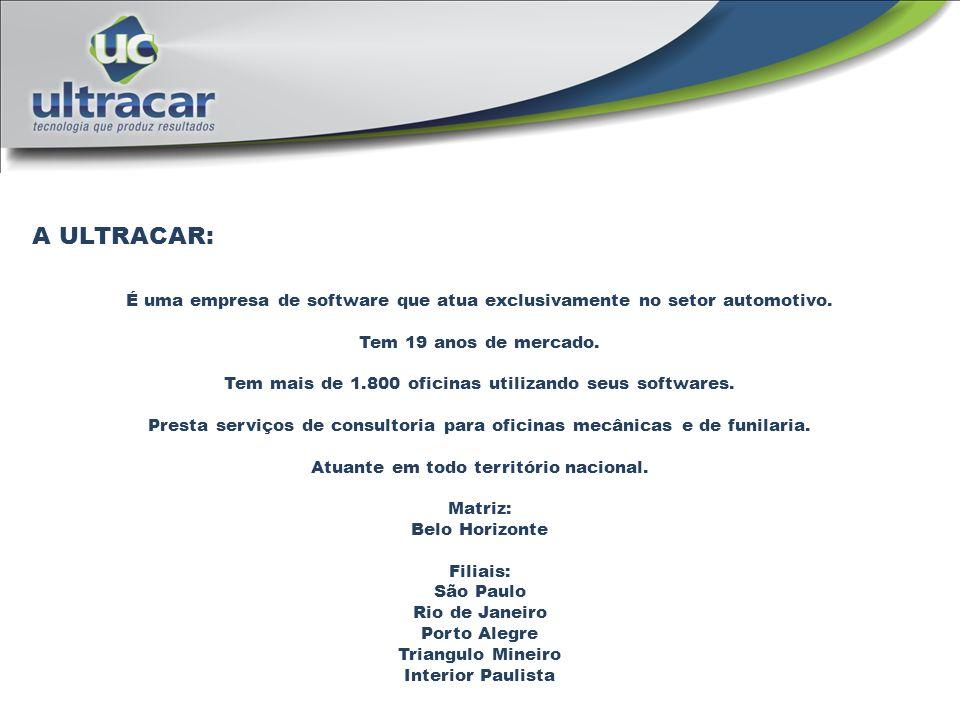 A ULTRACAR: É uma empresa de software que atua exclusivamente no setor automotivo. Tem 19 anos de mercado. Tem mais de 1.800 oficinas utilizando seus