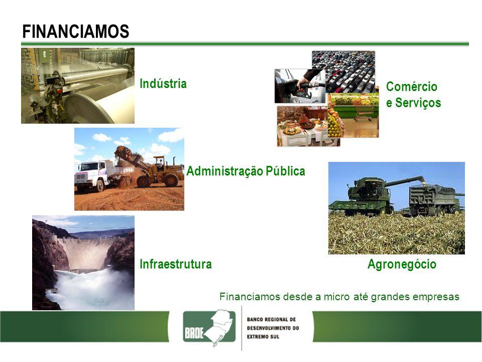 FOTO Indústria Infraestrutura Agronegócio Administração Pública Comércio e Serviços Financiamos desde a micro até grandes empresas FINANCIAMOS