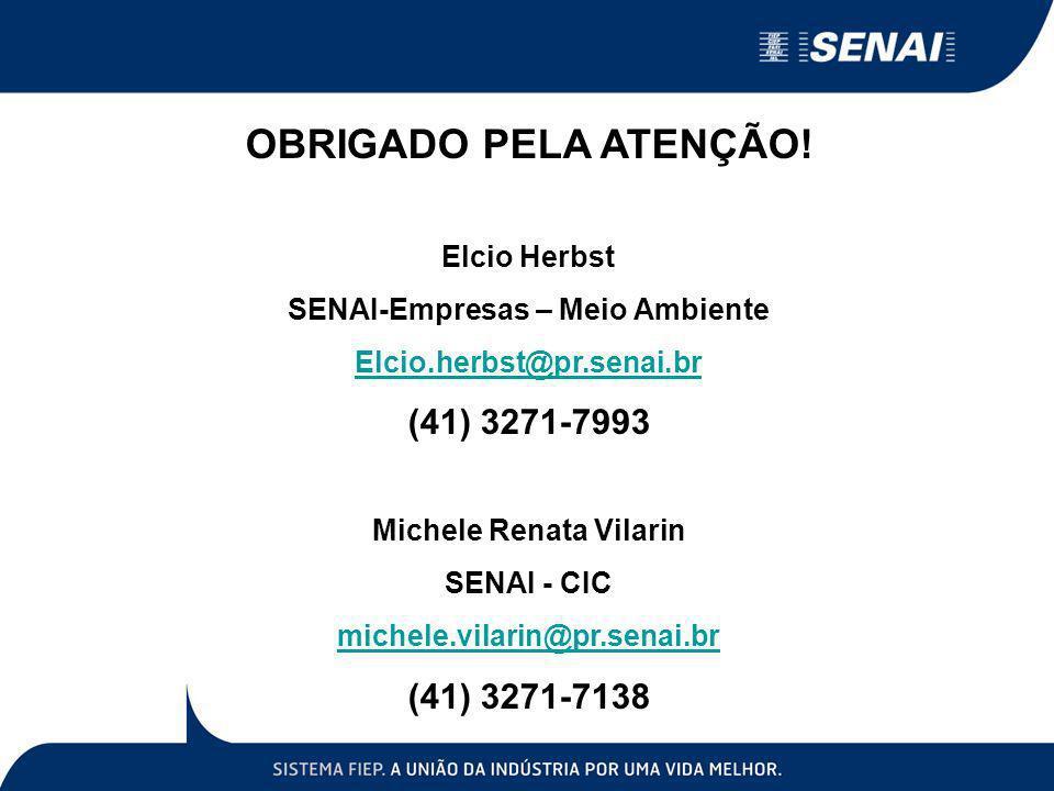 OBRIGADO PELA ATENÇÃO! Elcio Herbst SENAI-Empresas – Meio Ambiente Elcio.herbst@pr.senai.br (41) 3271-7993 Michele Renata Vilarin SENAI - CIC michele.