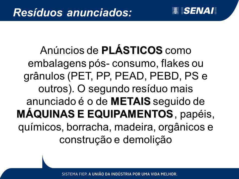 Resíduos anunciados: PLÁSTICOS METAIS MÁQUINAS E EQUIPAMENTOS Anúncios de PLÁSTICOS como embalagens pós- consumo, flakes ou grânulos (PET, PP, PEAD, P