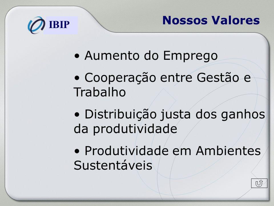 Construindo o Modelo de Gestão Brasileiro IBIP Nossos Valores Aumento do Emprego Cooperação entre Gestão e Trabalho Distribuição justa dos ganhos da p
