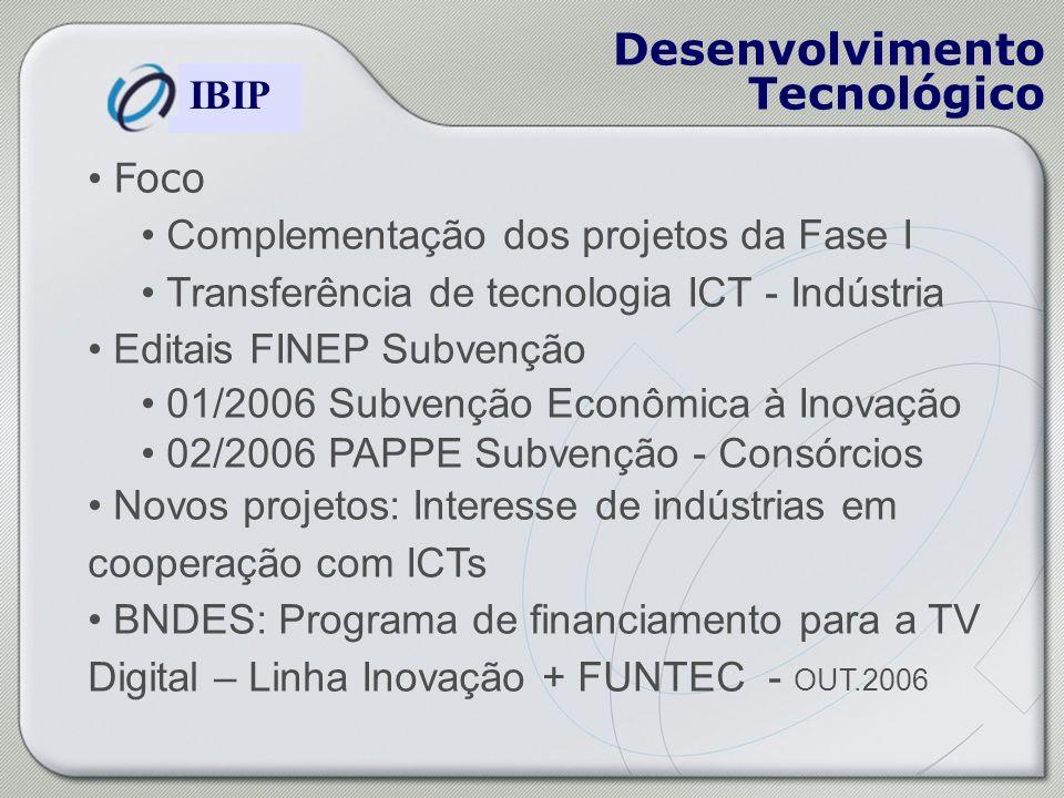 Construindo o Modelo de Gestão Brasileiro IBIP Desenvolvimento Tecnológico Foco Complementação dos projetos da Fase I Transferência de tecnologia ICT