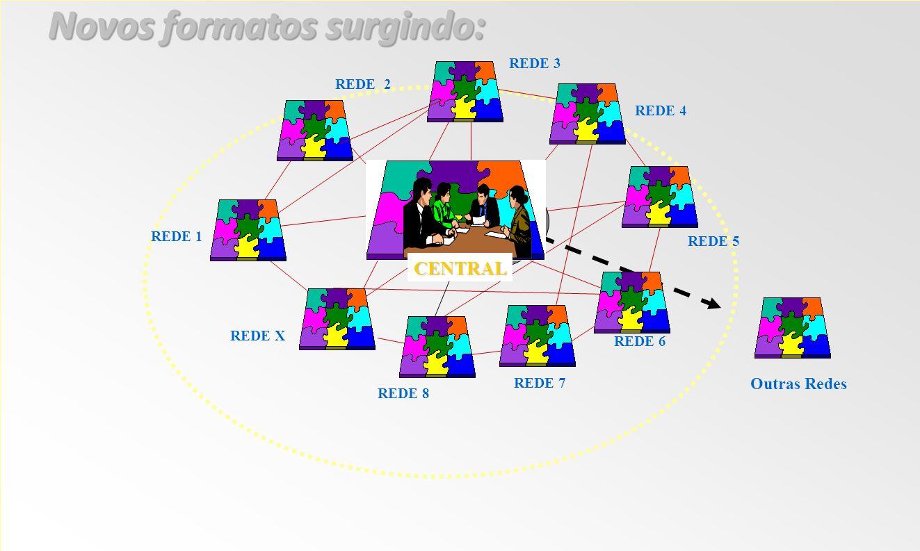 CENTRAL REDE 1 REDE 2 REDE 3 REDE 5 REDE 4 REDE 6 REDE 7 REDE 8 REDE X Outras Redes Novos formatos surgindo: