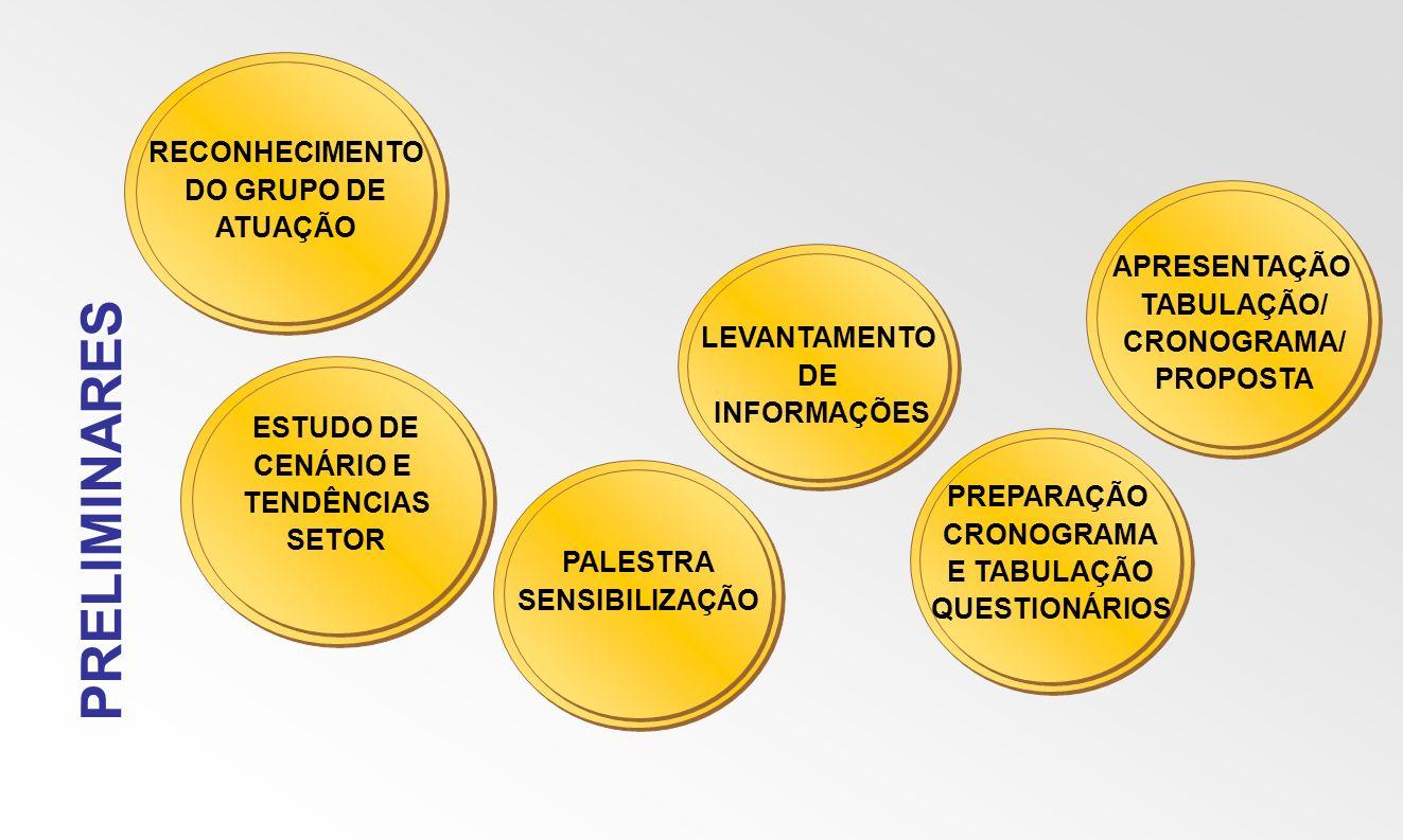 PRELIMINARES RECONHECIMENTO DO GRUPO DE ATUAÇÃO ESTUDO DE CENÁRIO E TENDÊNCIAS SETOR PALESTRA SENSIBILIZAÇÃO LEVANTAMENTO DE INFORMAÇÕES PREPARAÇÃO CR