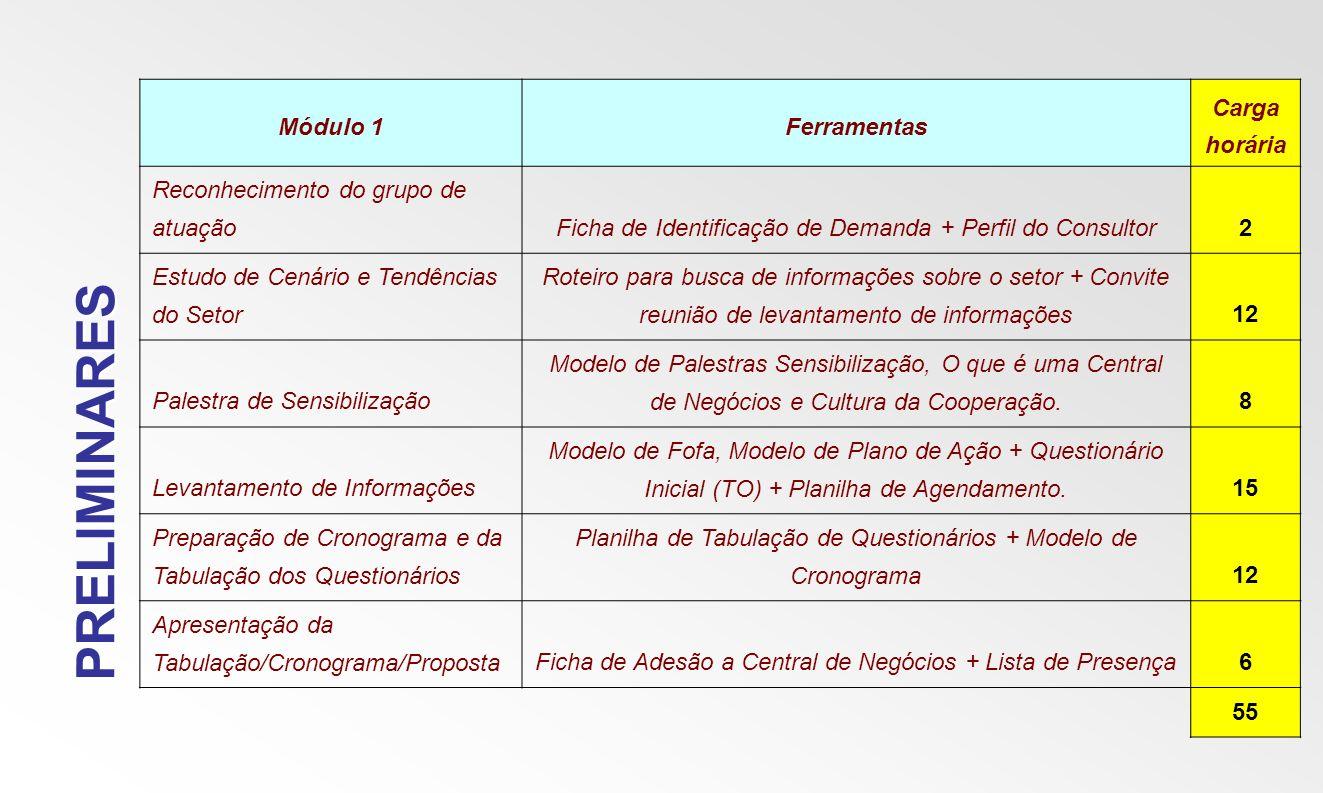 PRELIMINARES Módulo 1Ferramentas Carga horária Reconhecimento do grupo de atuaçãoFicha de Identificação de Demanda + Perfil do Consultor2 Estudo de Ce