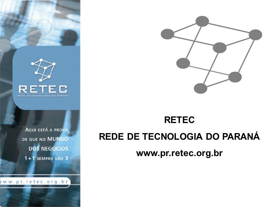 CRIAÇÃO DA RETEC - A RETEC foi criada pelo IEL da BAHIA em setembro de1998 - No Paraná o projeto teve início em 1º de junho de 2004 www.pr.retec.org.br