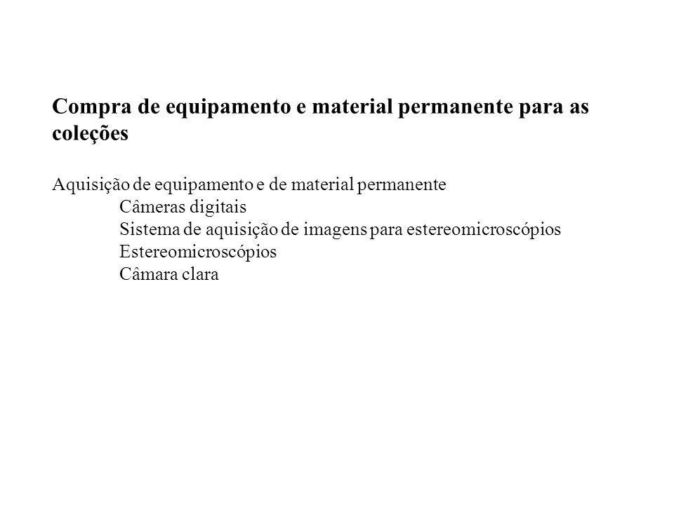Compra de equipamento e material permanente para as coleções Aquisição de equipamento e de material permanente Câmeras digitais Sistema de aquisição d