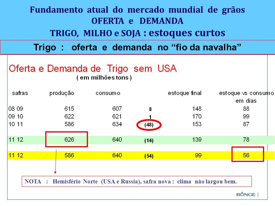 Trigo : oferta e demanda no fio da navalha NOTA : Hemisfério Norte (USA e Russia), safra nova : clima não largou bem. Fundamento atual do mercado mund