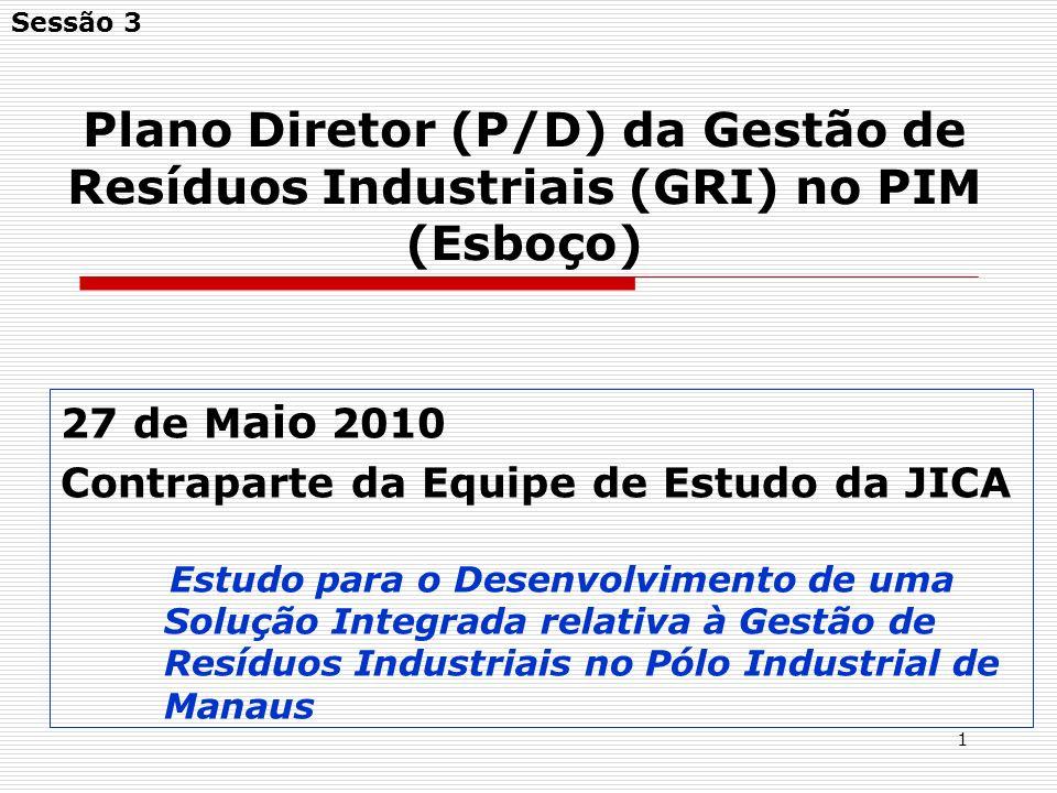 2 Agenda 1.Objetivos do Plano Diretor da Gestão de Resíduos Industriais do PIM 2.Estimativa futura dos RI gerados 3.Linhas gerais do P/D da GRI do PIM (esboço)