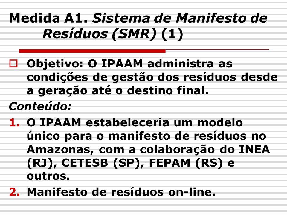 17 Medida A1. Sistema de Manifesto de Resíduos (SMR) (1) Objetivo: O IPAAM administra as condições de gestão dos resíduos desde a geração até o destin