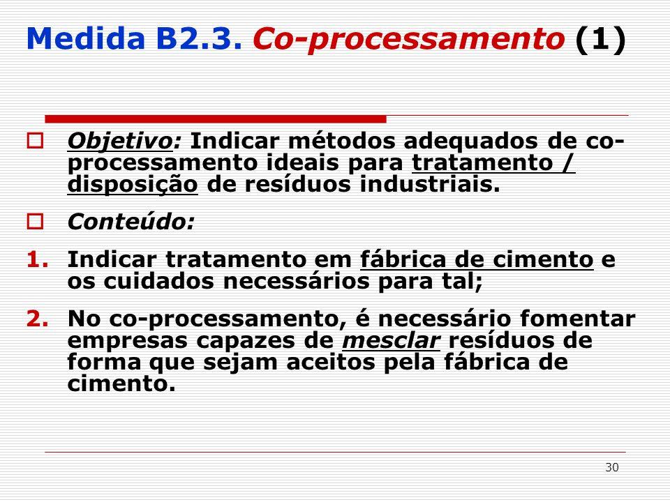 30 Medida B2.3. Co-processamento (1) Objetivo: Indicar métodos adequados de co- processamento ideais para tratamento / disposição de resíduos industri