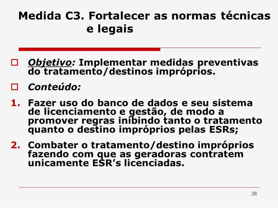 38 Medida C3. Fortalecer as normas técnicas e legais Objetivo: Implementar medidas preventivas do tratamento/destinos impróprios. Conteúdo: 1.Fazer us