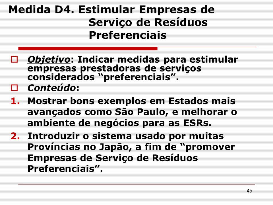 45 Medida D4. Estimular Empresas de Serviço de Resíduos Preferenciais Objetivo: Indicar medidas para estimular empresas prestadoras de serviços consid
