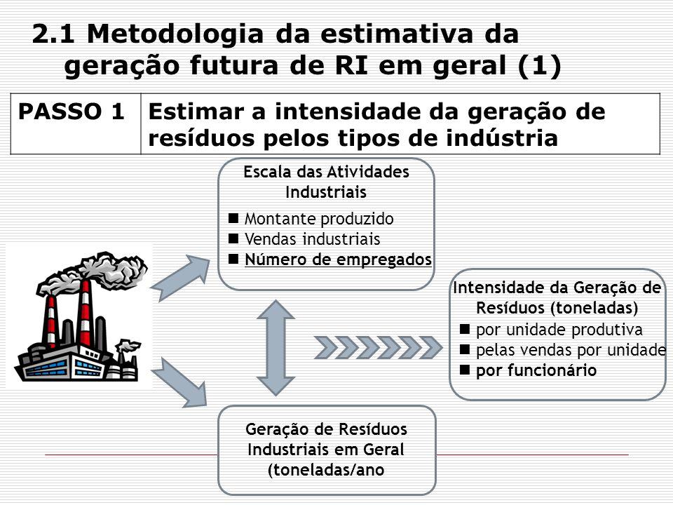 PASSO 2Projeção das atividades industriais futuras na área do PIM Cenário de Negócios Presumindo que a tendência passada de crescimento industrial será mantida, e também como tendência futura Com base nos dados produtivos de 2004 a 2008 para cada tipo de indústria, o crescimento futuro foi estimado por meio de uma função analítica (método analítico estatístico) O futuro número de empregados foi calculado em função do crescimento estimado, para cada tipo de indústria 2.1 Metodologia da estimativa da geração futura de RI em geral (2)