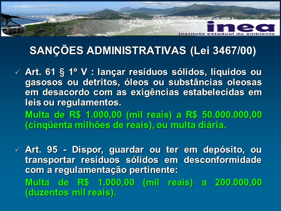 SANÇÕES ADMINISTRATIVAS (Lei 3467 SANÇÕES ADMINISTRATIVAS (Lei 3467/00) Art. 61 § 1º V : lançar resíduos sólidos, líquidos ou gasosos ou detritos, óle