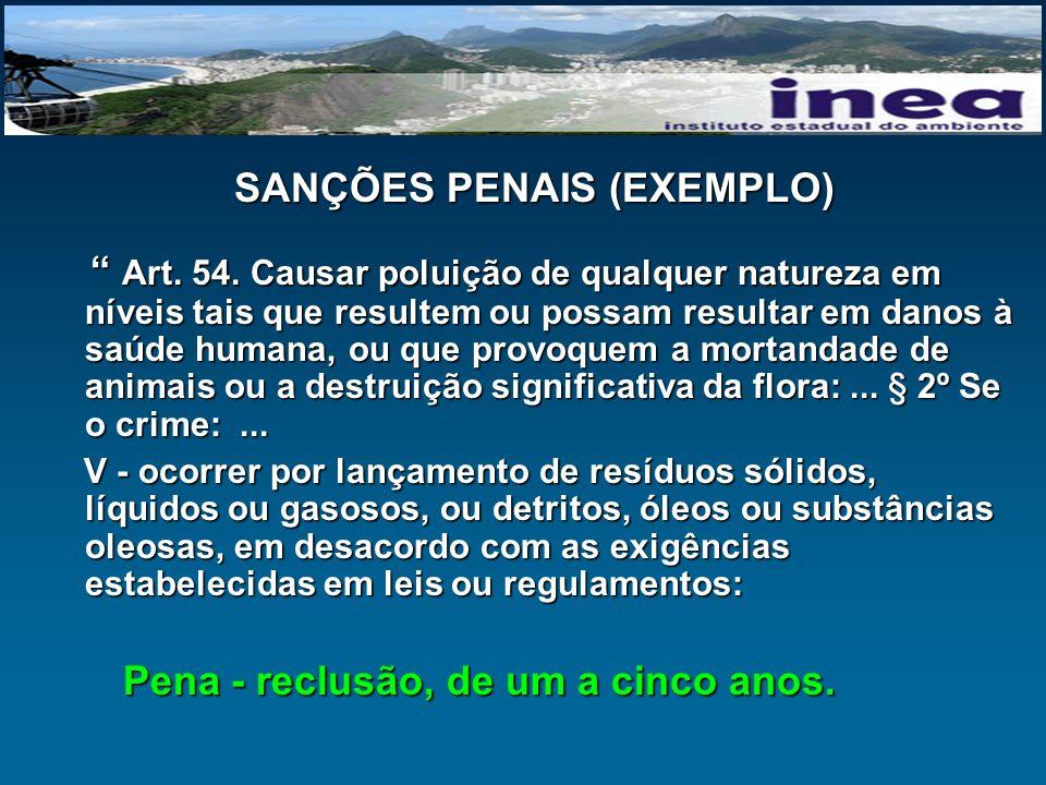 SANÇÕES PENAIS (EXEMPLO) Art. 54. Causar poluição de qualquer natureza em níveis tais que resultem ou possam resultar em danos à saúde humana, ou que