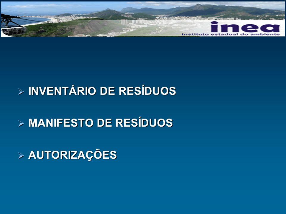 INVENTÁRIO DE RESÍDUOS INVENTÁRIO DE RESÍDUOS MANIFESTO DE RESÍDUOS MANIFESTO DE RESÍDUOS AUTORIZAÇÕES AUTORIZAÇÕES