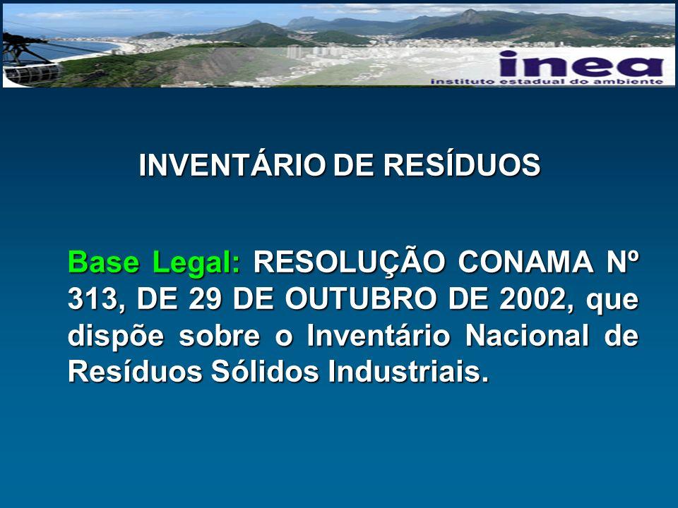 INVENTÁRIO DE RESÍDUOS Base Legal: RESOLUÇÃO CONAMA Nº 313, DE 29 DE OUTUBRO DE 2002, que dispõe sobre o Inventário Nacional de Resíduos Sólidos Indus