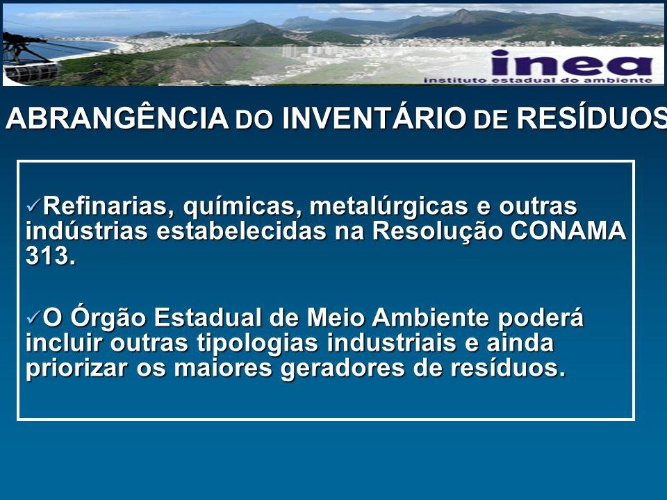 ABRANGÊNCIA DO INVENTÁRIO DE RESÍDUOS Refinarias, químicas, metalúrgicas e outras indústrias estabelecidas na Resolução CONAMA 313. Refinarias, químic