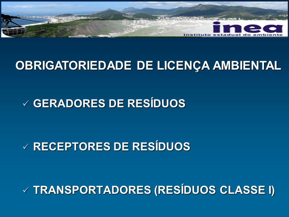GERADORES DE RESÍDUOS GERADORES DE RESÍDUOS RECEPTORES DE RESÍDUOS RECEPTORES DE RESÍDUOS TRANSPORTADORES (RESÍDUOS CLASSE I) TRANSPORTADORES (RESÍDUO