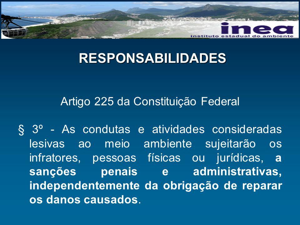 RESPONSABILIDADES Artigo 225 da Constituição Federal § 3º - As condutas e atividades consideradas lesivas ao meio ambiente sujeitarão os infratores, p