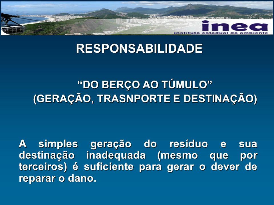 RESPONSABILIDADE DO BERÇO AO TÚMULO (GERAÇÃO, TRASNPORTE E DESTINAÇÃO) A simples geração do resíduo e sua destinação inadequada (mesmo que por terceir