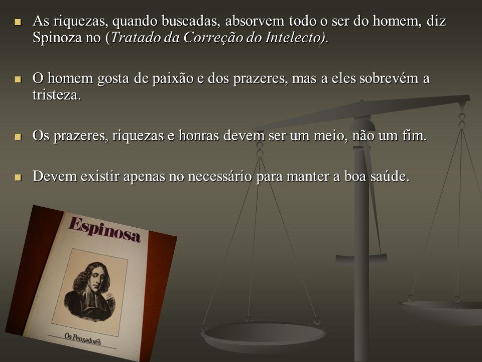 As riquezas, quando buscadas, absorvem todo o ser do homem, diz Spinoza no (Tratado da Correção do Intelecto). As riquezas, quando buscadas, absorvem