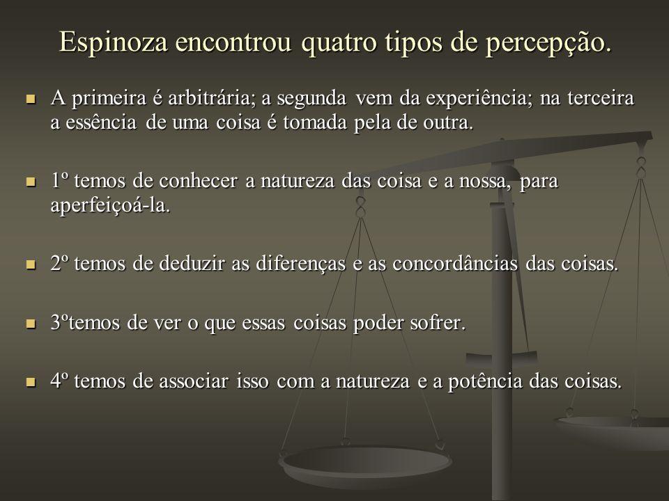 Espinoza encontrou quatro tipos de percepção. A primeira é arbitrária; a segunda vem da experiência; na terceira a essência de uma coisa é tomada pela