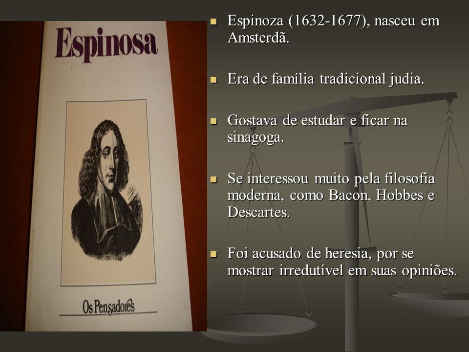 Espinoza (1632-1677), nasceu em Amsterdã. Espinoza (1632-1677), nasceu em Amsterdã. Era de família tradicional judia. Era de família tradicional judia