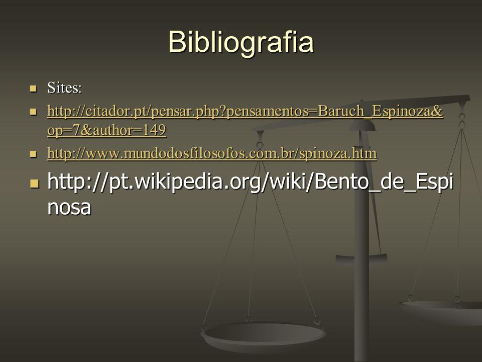 Bibliografia Sites: Sites: http://citador.pt/pensar.php?pensamentos=Baruch_Espinoza& op=7&author=149 http://citador.pt/pensar.php?pensamentos=Baruch_E