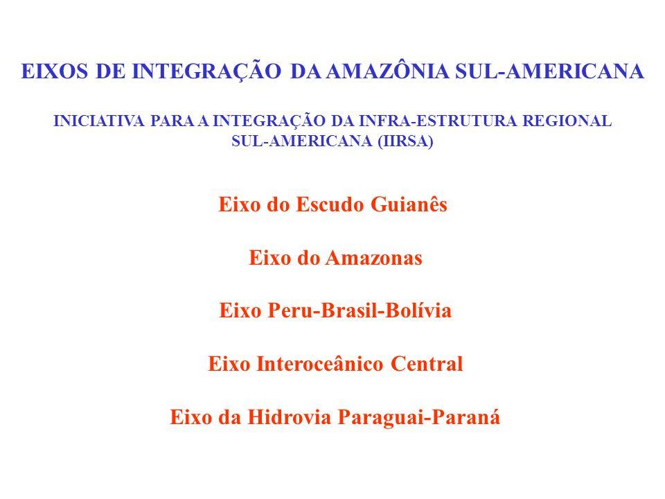 EIXOS DE INTEGRAÇÃO DA AMAZÔNIA SUL-AMERICANA INICIATIVA PARA A INTEGRAÇÃO DA INFRA-ESTRUTURA REGIONAL SUL-AMERICANA (IIRSA) Eixo do Escudo Guianês Ei