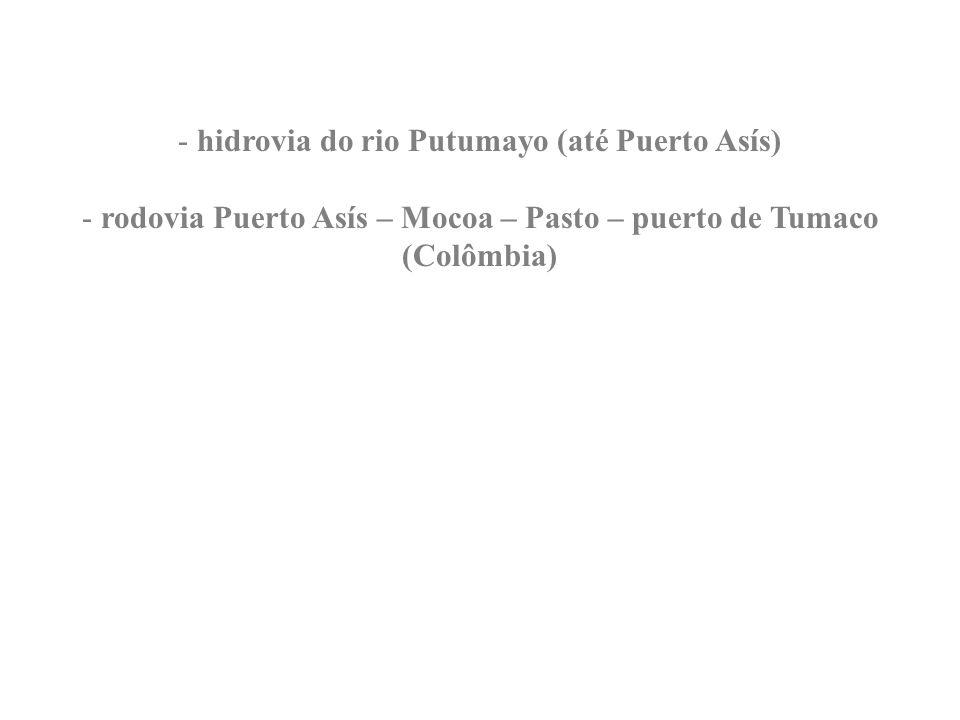 - hidrovia do rio Putumayo (até Puerto Asís) - rodovia Puerto Asís – Mocoa – Pasto – puerto de Tumaco (Colômbia)