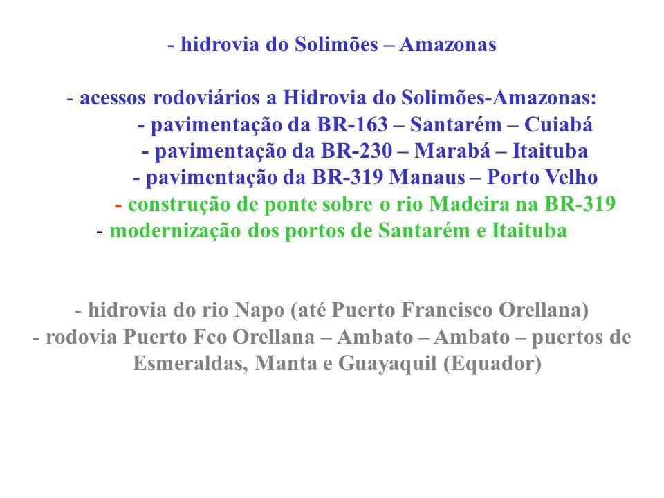 - hidrovia do Solimões – Amazonas - acessos rodoviários a Hidrovia do Solimões-Amazonas: - pavimentação da BR-163 – Santarém – Cuiabá - pavimentação d