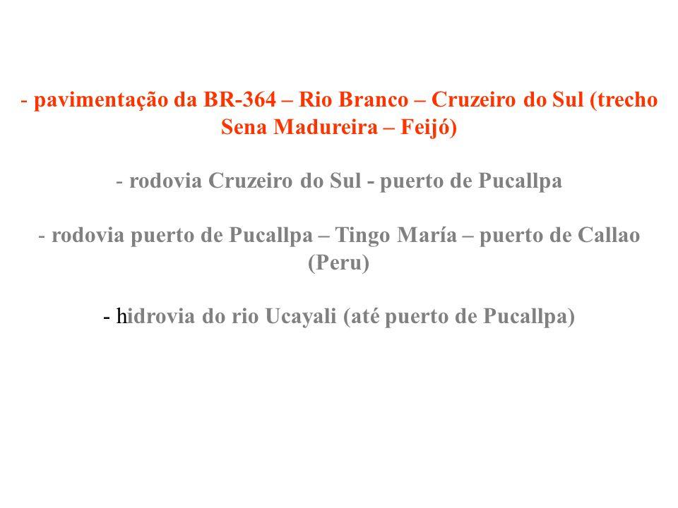 - pavimentação da BR-364 – Rio Branco – Cruzeiro do Sul (trecho Sena Madureira – Feijó) - rodovia Cruzeiro do Sul - puerto de Pucallpa - rodovia puert