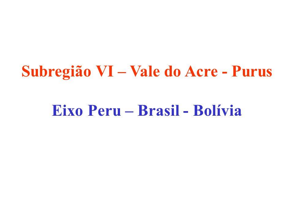 Subregião VI – Vale do Acre - Purus Eixo Peru – Brasil - Bolívia