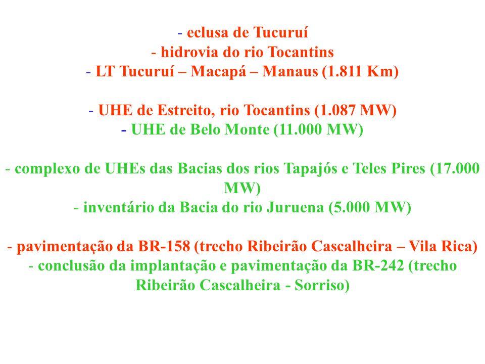 - eclusa de Tucuruí - hidrovia do rio Tocantins - LT Tucuruí – Macapá – Manaus (1.811 Km) - UHE de Estreito, rio Tocantins (1.087 MW) - UHE de Belo Mo