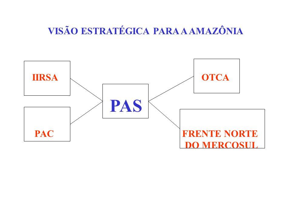 AS DIRETRIZES DO PAS E A FAIXA DE FRONTEIRA A integração da Amazônia sul-americana constitui outro elemento estratégico para consecução do PAS, tendo em vista o desencadear de possibilidades de desenvolvimento da região que dela advém.