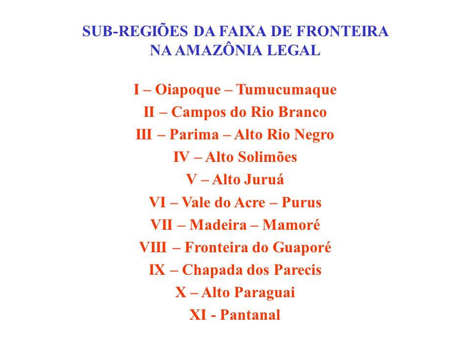 SUB-REGIÕES DA FAIXA DE FRONTEIRA NA AMAZÔNIA LEGAL I – Oiapoque – Tumucumaque II – Campos do Rio Branco III – Parima – Alto Rio Negro IV – Alto Solim