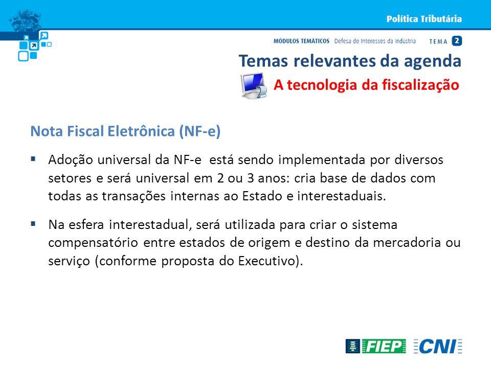 Adoção universal da NF-e está sendo implementada por diversos setores e será universal em 2 ou 3 anos: cria base de dados com todas as transações inte