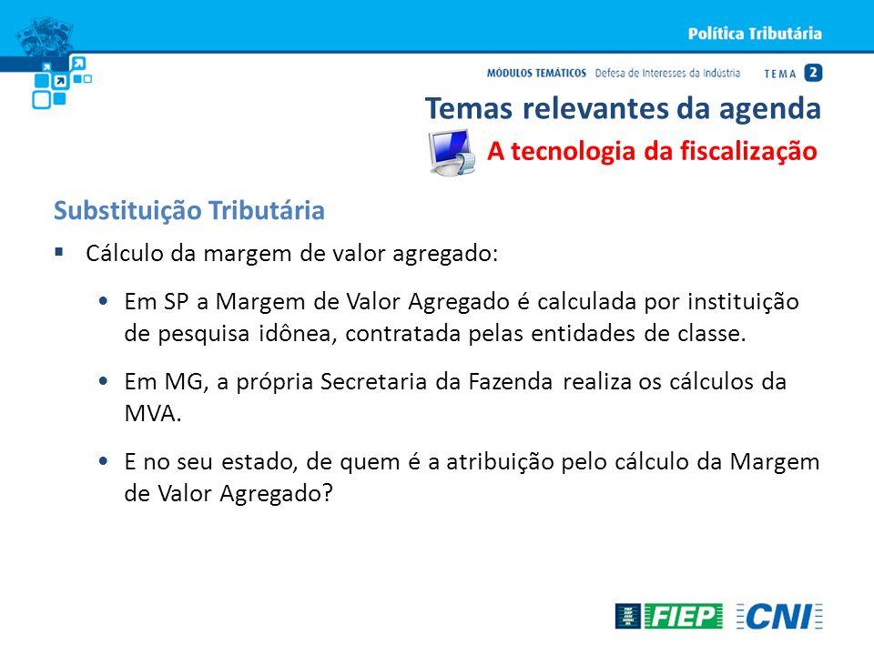 Cálculo da margem de valor agregado: Em SP a Margem de Valor Agregado é calculada por instituição de pesquisa idônea, contratada pelas entidades de cl
